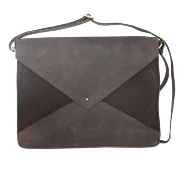 Suede and leather envelope satchel | TradeAid