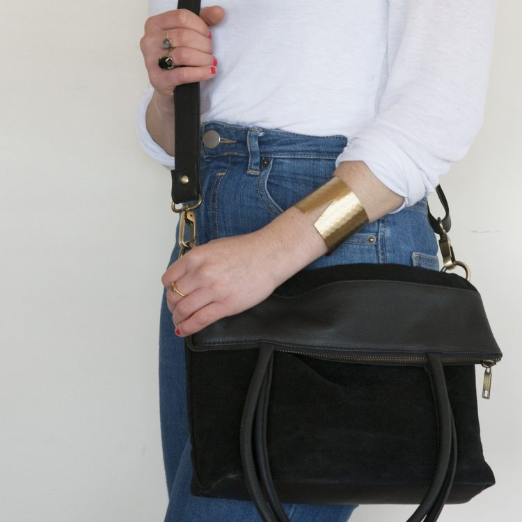 Black suede and leather shoulder bag | Gallery 2 | TradeAid