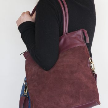 Aubergine suede and leather shoulder bag | Gallery 1 | TradeAid