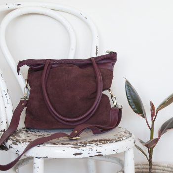 Aubergine suede and leather shoulder bag | TradeAid