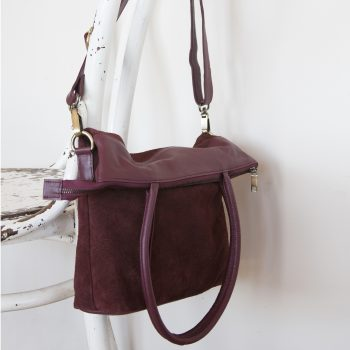 Aubergine suede and leather shoulder bag | Gallery 2 | TradeAid