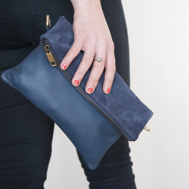 Blue suede and leather shoulder bag | Gallery 1 | TradeAid