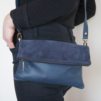 Blue suede and leather shoulder bag | TradeAid