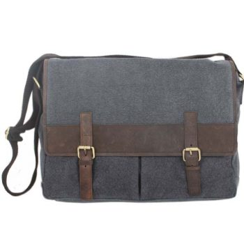 Stone canvas satchel with hunter leather trim | TradeAid