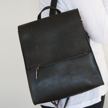 Black leather satchel bag | TradeAid