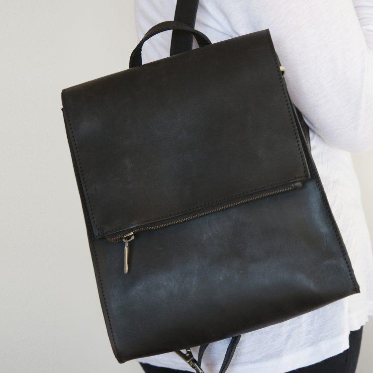 Black leather satchel bag | TradeAid
