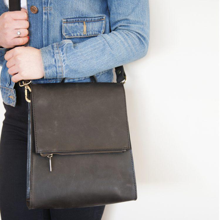 Black leather satchel bag | Gallery 2 | TradeAid