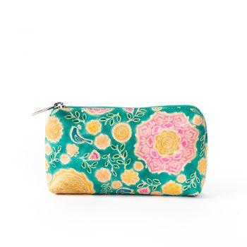 Aqua shanti leather cosmetic purse | TradeAid