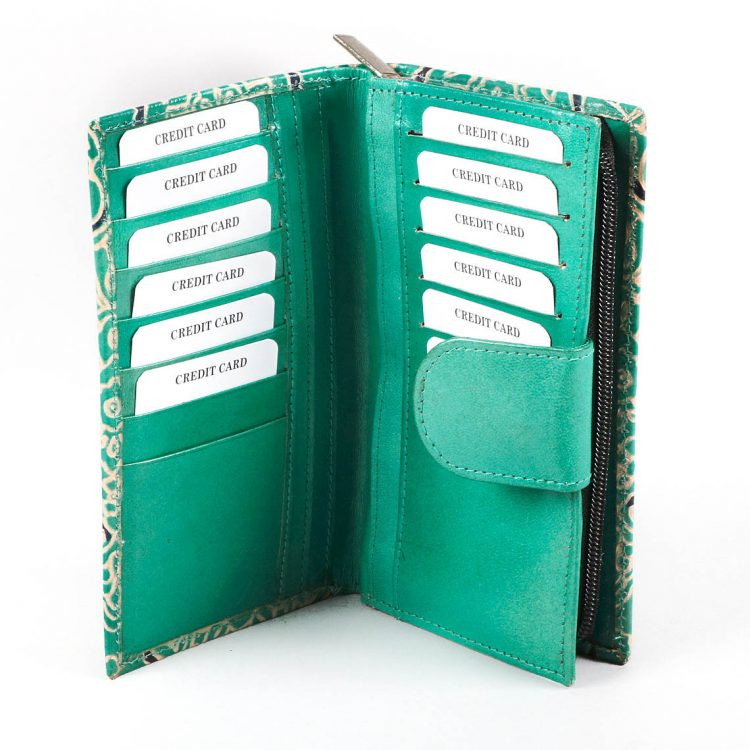 Teal shanti leather wallet   Gallery 1   TradeAid