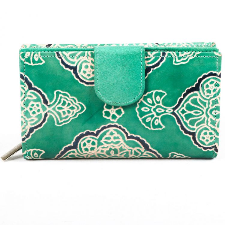 Teal shanti leather wallet   TradeAid
