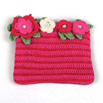 Pink and red crochet flower purse | TradeAid