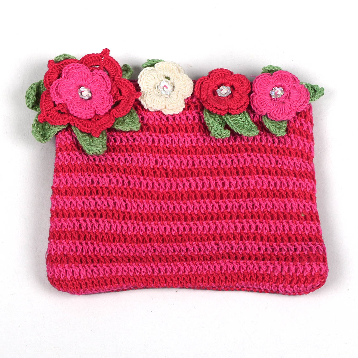 PINK AND RED CROCHET FLOWER PURSE - Trade