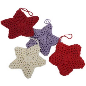 Hanging crochet star assorted colours | TradeAid