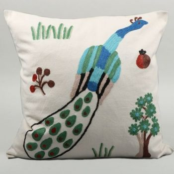 Cotton and wool mix peacock design cushion cover | TradeAid