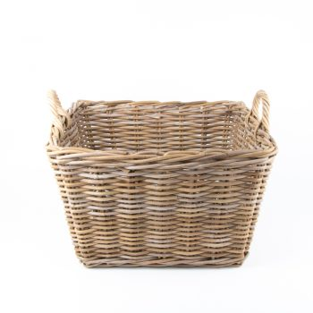 Grey rattan laundry basket with handles | TradeAid