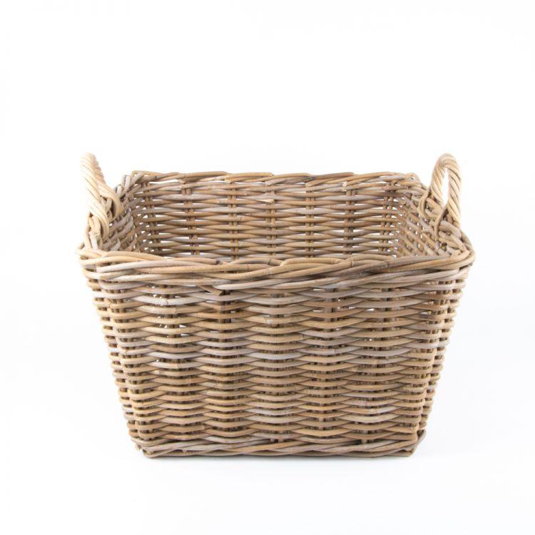 Grey rattan laundry basket with handles | TradeAid