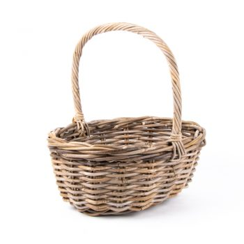 Grey rattan oval shopping basket with handles | TradeAid