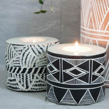 Etched stone tealight candle holder | TradeAid