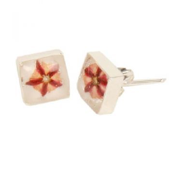 Square silver plated resin flower earrings | TradeAid