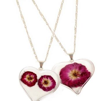 Necklace with resin floral heart pendant | TradeAid