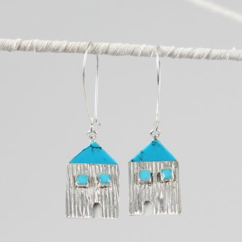 Silver plated rustic house earrings | TradeAid
