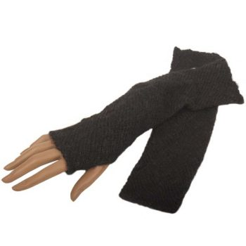 Long black fingerless alpaca gloves | TradeAid