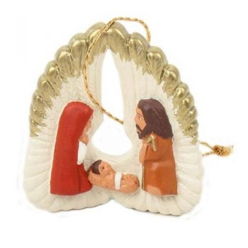 Ceramic hanging nativity on angel wings | TradeAid