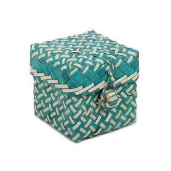 Teal and natural buri box | TradeAid