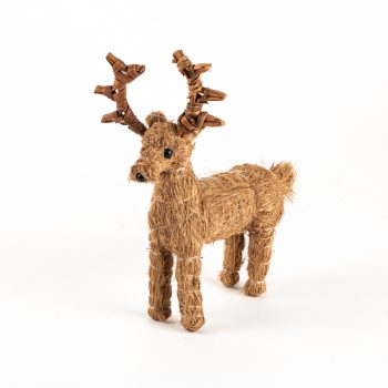 Small coco fibre standing reindeer | TradeAid