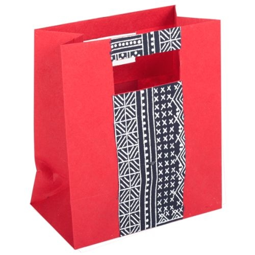 Red paper gift bag with fabric | TradeAid