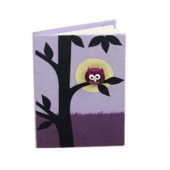 Small purple notebook with owl design | TradeAid