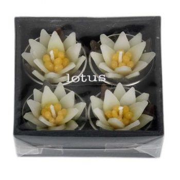 Box of 4 white and yellow lotus tealight candles | TradeAid