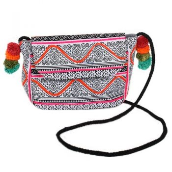 Hmong batik shoulder bag with pom poms | TradeAid