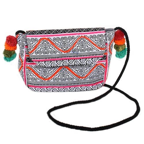 Hmong batik shoulder bag with pom poms | TradeAid