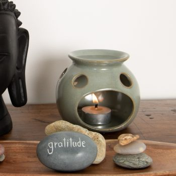 Blue ceramic oil burner | TradeAid