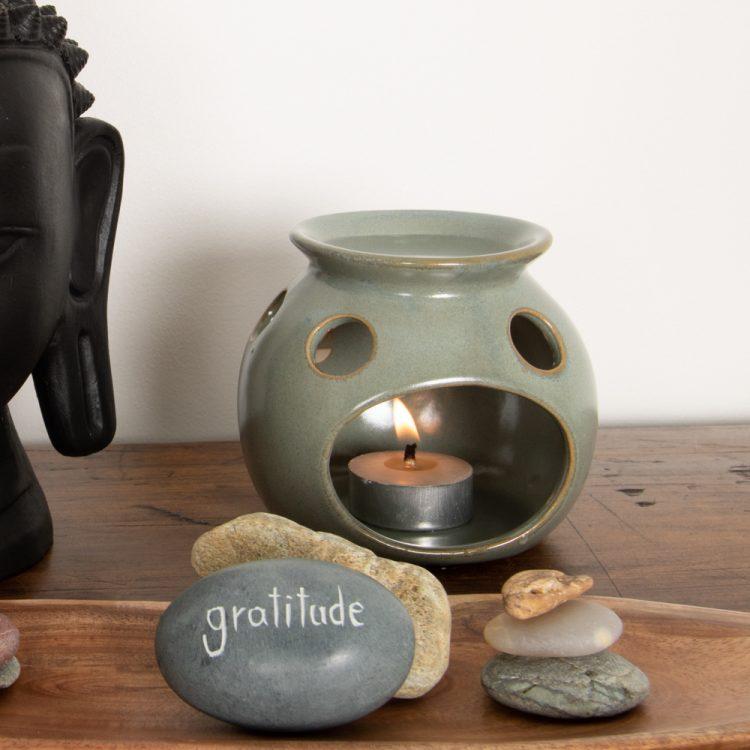 Blue ceramic oil burner | TradeAid