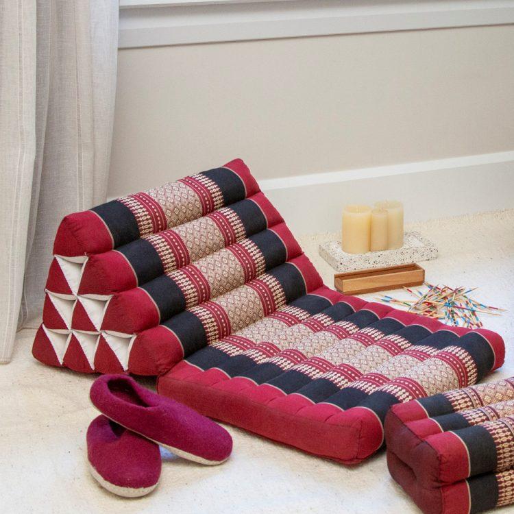 Maroon triangle thai pillow seat   TradeAid