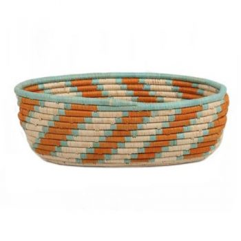 Oval orange and teal basket | TradeAid