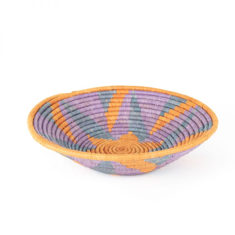 Lilac and rust star woven bowl | TradeAid