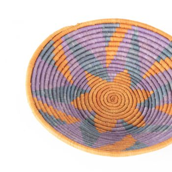 Lilac and rust star woven bowl | Gallery 1 | TradeAid