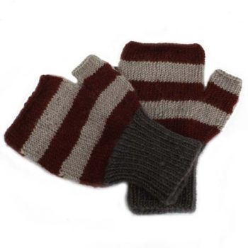 Brown and grey striped woollen fingerless gloves | TradeAid