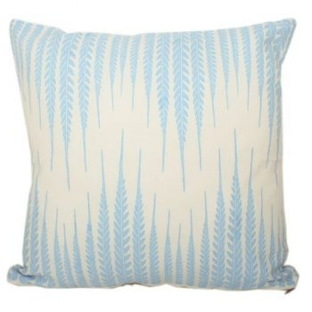 White cushion cover with blue leaf print design | TradeAid