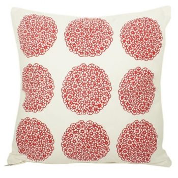 White cushion cover with 9 red flower medallion print design | TradeAid