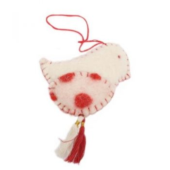 Felt polka dot bird ornament | TradeAid