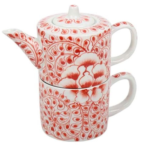 Red floral teapot and cup set | TradeAid