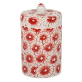 Red floral canister | TradeAid