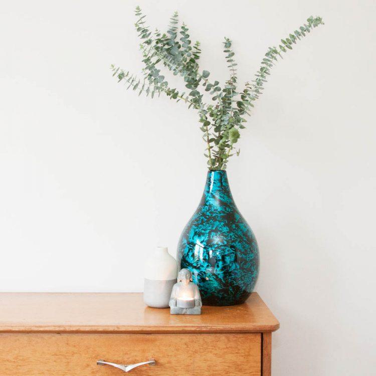 Aqua and black porcelain vase | TradeAid