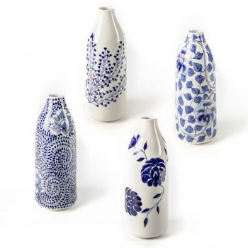 Tall blue and white vase | TradeAid