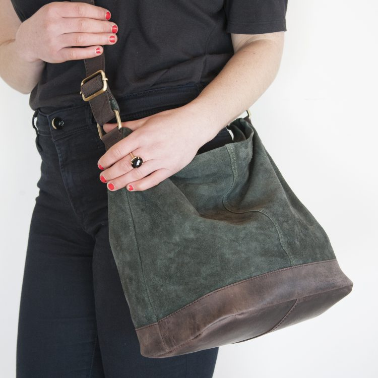 Green suede slouch bag | Gallery 1 | TradeAid