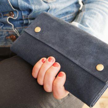 Blue suede wallet | Gallery 1 | TradeAid